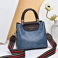 Женская сумка SADG с ярким акцентным ремешком Синый