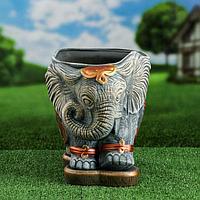 """Кашпо фигурное """"Слон"""", серый цвет, 11 л"""