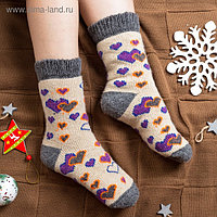 Носки женские шерстяные «Сердечки», цвет орех, размер 25