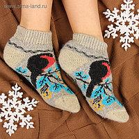 Носки женские шерстяные укороченные «Снегирь на веточке», цвет серый, размер 23