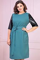 Женское осеннее бирюзовое большого размера платье Anastasiya Mak 932 мятный 50р.