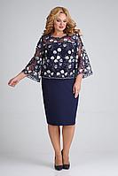 Женское осеннее из вискозы синее нарядное большого размера платье ELGA 01-670 синий_дизайн 56р.
