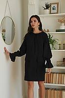 Женское осеннее льняное черное платье LadisLine 1379 черный 44р.