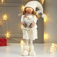 Кукла интерьерная 'Ангелочек Мила с сердцем в белом наряде, в розовых варежках' 65х12х15 см 482269