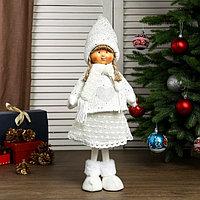 Кукла интерьерная 'Девочка Валя в белом свитере с сердечком' 55х14х19 см