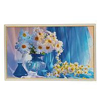 Картина 'Ромашки в синей вазе' 64х104 см