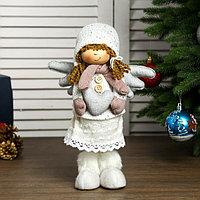 Кукла интерьерная 'Ангелочек Мила с сердечком в белом наряде, в розовых варежках'45х11х13см