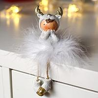 Сувенир полистоун 'Малышка в костюме лосика, в юбке из пуха' 12,5х4х4 см