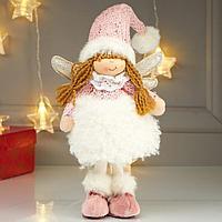 Кукла интерьерная 'Ангелочек Еся в белом меховой юбке, в розовом колпаке' 39х7х18 см