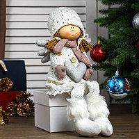 Кукла интерьерная 'Ангелочек Мила с сердцем в белом наряде, в розовых варежках' 60х11х12 см