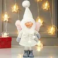 Кукла интерьерная 'Ангелочек Еся в белом вязаном платье, с капюшоном-колпаком' 28х9х12 см