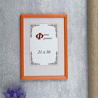 Фоторамка сосна формат А4 с14 21х30 см (069 оранжевый) (пластиковый экран)
