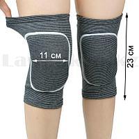 Эластичные наколенники защитные для занятий спортом 23 х 11 см NO 771 серые в полоску