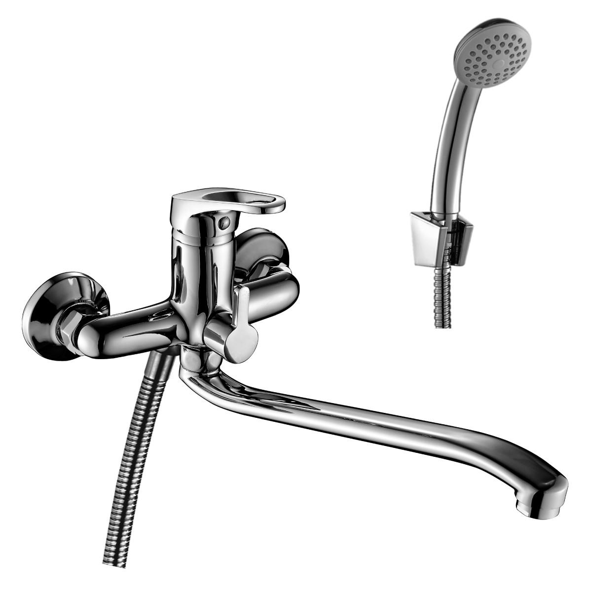 Смеситель Rossinka Silvermix B35-34 для ванны с длинным изливом универсальный