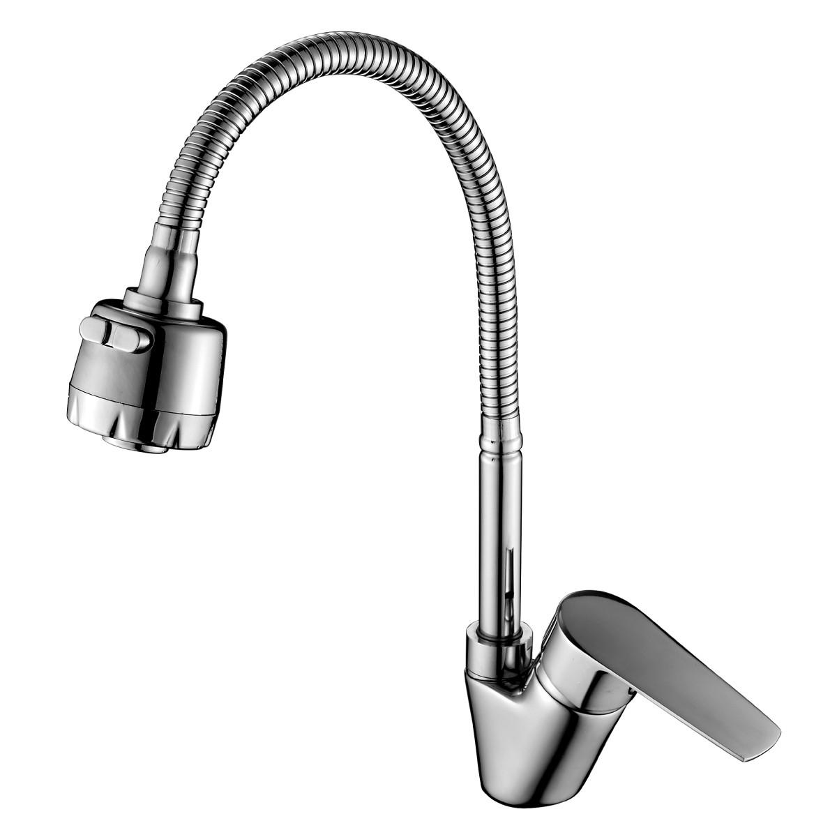 Смеситель Rossinka Silvermix S35-26 для кухни с гибким изливом