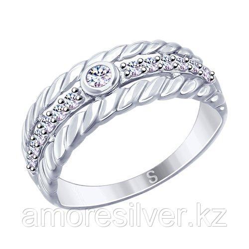Кольцо SOKOLOV серебро с родием, фианит , фантазия 94012628 размеры - 18