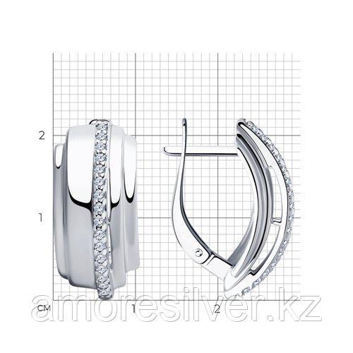 """Серьги DIAMANT ( SOKOLOV ) серебро с родием, фианит, """"линии"""" 94-120-00426-1 - фото 2"""