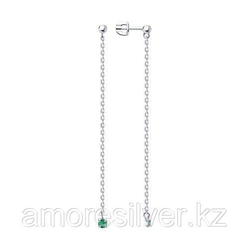Серьги DIAMANT ( SOKOLOV ) серебро с родием, изумруд нат. 94-222-01102-3