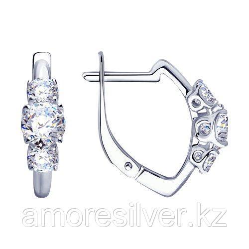 Серьги DIAMANT ( SOKOLOV ) серебро с родием, фианит  94-120-01217-1