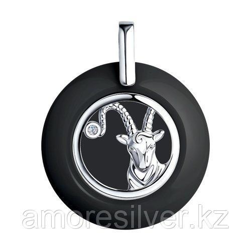 Подвеска DIAMANT ( SOKOLOV ) серебро с родием, керамика , фианит  94-130-01259-1