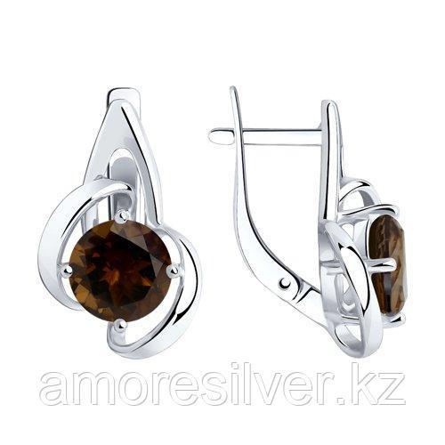 Серьги DIAMANT ( SOKOLOV ) из черненного серебра, раух-топаз 94-320-00606-3