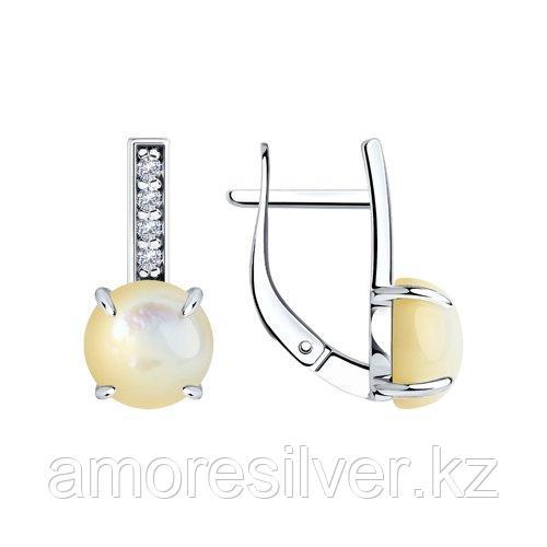Серьги DIAMANT ( SOKOLOV ) серебро с позолотой, перламутр , фианит  94-320-00887-1