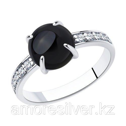 Кольцо DIAMANT ( SOKOLOV ) из черненного серебра, агат, фианит  94-310-00887-2 размеры - 17 18