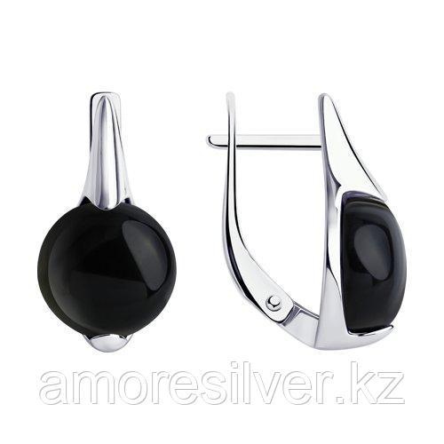 Серьги DIAMANT ( SOKOLOV ) из черненного серебра, агат 94-320-00896-1