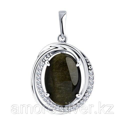 Подвеска DIAMANT ( SOKOLOV ) из черненного серебра, обсидиан, фианит  94-330-00962-1