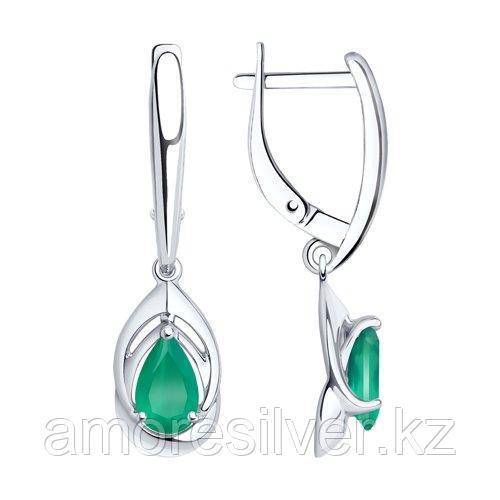 Серьги DIAMANT ( SOKOLOV ) из черненного серебра, агат зеленый 94-320-00981-2