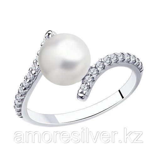Кольцо DIAMANT ( SOKOLOV ) из черненного серебра, фианит , жемчуг пресноводный 94-310-01118-1 размеры - 17
