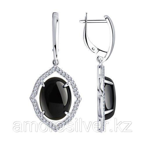 Серьги DIAMANT ( SOKOLOV ) из черненного серебра, агат, фианит  94-320-01027-1