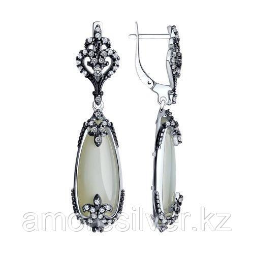 Серьги SOKOLOV серебро с родием, лунный камень, фианит  83020204