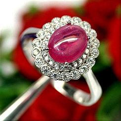 Кольцо с натуральным Рубином 9 мм (комплект)