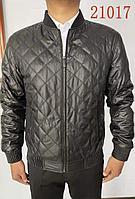 Мужская куртка-бомбер с отделкой из натуральной кожи черная размер 48