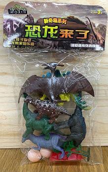 0916-3 Динозавры фигурки 6шт +2яйца в пакете 34*20см
