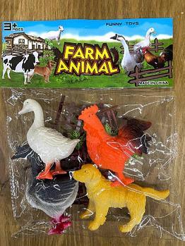 Q901  домашние животные  Farm animal 4шт в пакете 29*23см