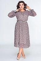 Женская осенняя шифоновая бежевая платье и ремень Swallow 396 кофейный_в_горошек 48р.