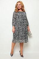 Женское осеннее трикотажное нарядное большого размера платье Michel chic 2049 черный+белый+принт 54р.