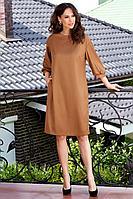 Женское осеннее коричневое большого размера платье Teffi Style L-1578 золотой 46р.