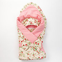 Конверт на выписку 'Райский сад', цветы на розовом, 3 предмета, поплин/поликоттон