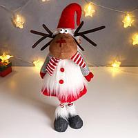 Кукла интерьерная 'Олешка в красном платье и колпаке, белом меховом жилете' 60х17х18 см