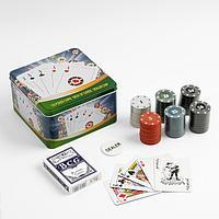 Покер, набор для игры (карты 54 шт, фишки 120 шт с номин.) 15х15 см, микс