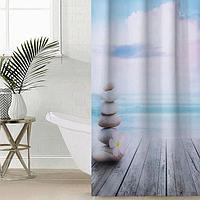 Штора для ванной комнаты 'Море и камни', 145x180 см, оксфорд