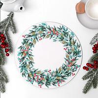 Подложка под торт 'Рождественский венок' 26 см, дерево, 0,6 см