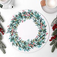 Подложка под торт 'Рождественский венок' 32 см, дерево, 0,6 см