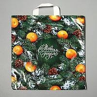 Пакет 'Новогодний базар', полиэтиленовый с петлевой ручкой, 42 х 38 см, 40 мкм (комплект из 25 шт.)