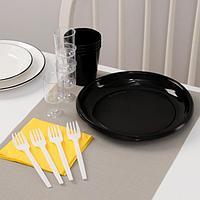 Набор одноразовой посуды премиум Доляна 'Фуршет', 4 персоны, тарелки, вилки, стаканы 200 мл, рюмки 100 мл,