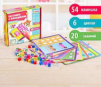 Мозаика с камешками «Весёлый счёт», пластиковые квадраты, карточки, по методике Монтессори, фото 1