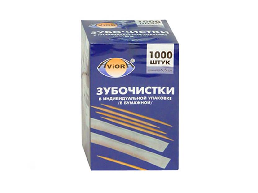 Зубочистки бамбуковые в индивидуальной, бумажной упаковке (1000шт)
